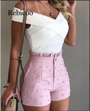 Womens Summer High Waist Shorts Beaded Frilled Hem Casual