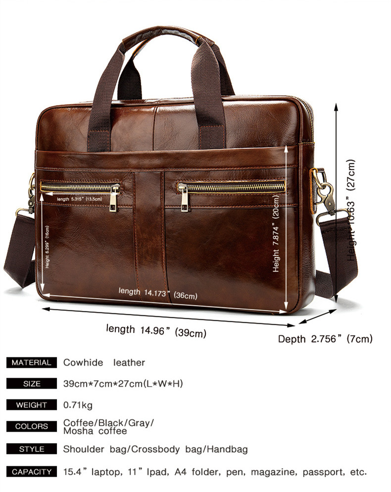 2020 Business Men's Briefcase Brand Leather Men Handbags Large Capacity 15.6 Inch Laptop Bag Male Cowhide Travel Shoulder Bags