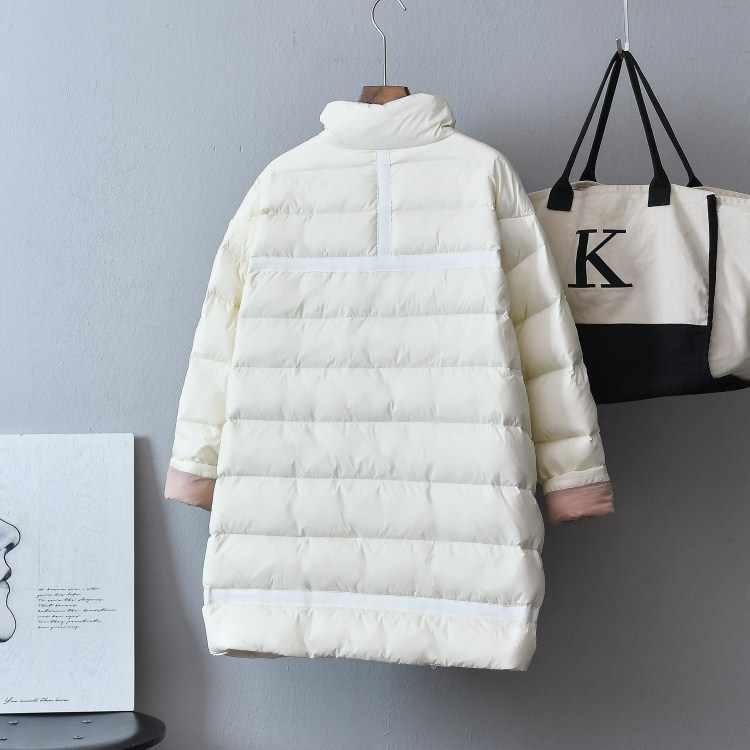2019 女性の冬のコート長袖スタンド襟女性ルース白暖かいロングポケット Casaco Feminino 特大パーカー