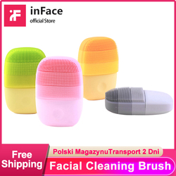 Inface escova de limpeza facial ofnical mijia rosto limpeza profunda à prova dwaterproof água silicone elétrica sonic cleanser xiaomi corrente fornecimento