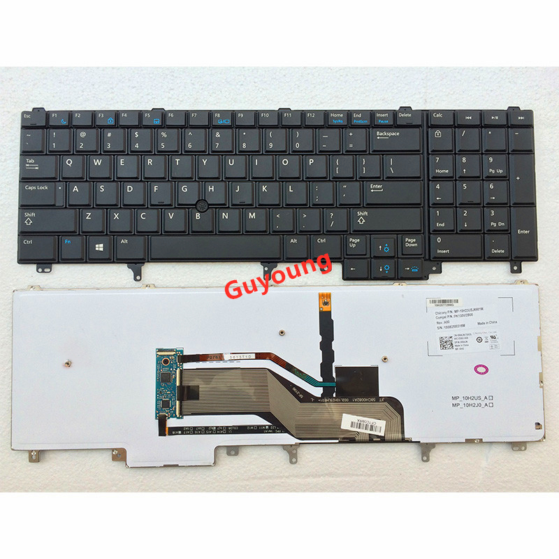 US Keyboard Replacement For Dell Latitude <font><b>E5520</b></font> E5520M E5530 E6520 E6530 E6540 Black with Backlit Pointer Keyboard image