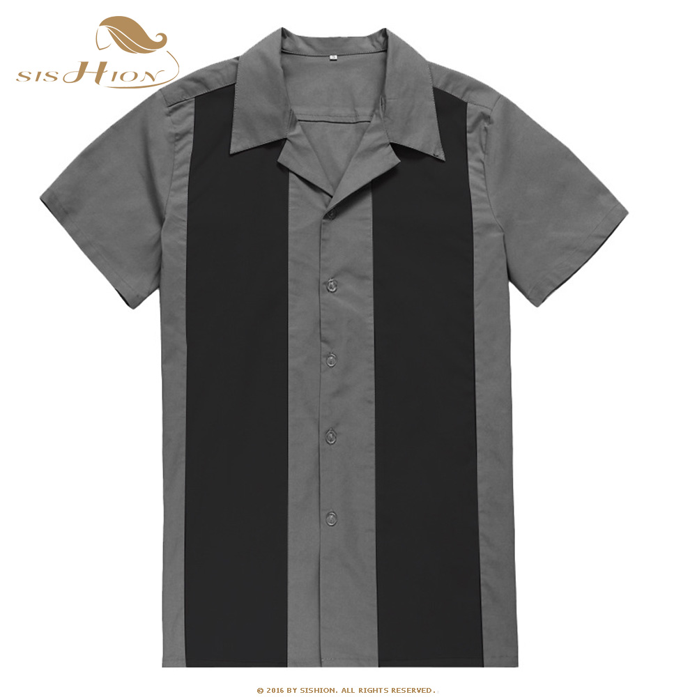 SISHION 2020 Short Sleeve Work Men Shirt ST108 Plus Size 3XL Bowling Shirt For Men Cotton Summer Blouse Men