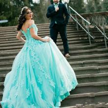 Ball-Gown Quinceanera-Dresses Masquerade Tulle-Off Fashion Pearls with The Shoulder-Sweep-Train
