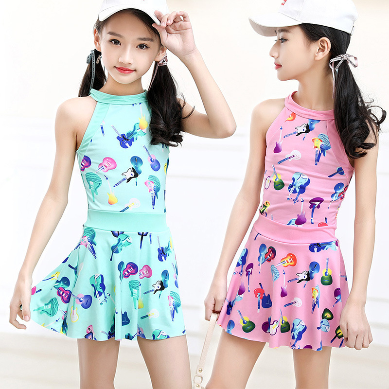 Korean-style GIRL'S Swimsuit Children Split Type One-piece Boxers Skirt Swimwear Big Boy Students GIRL'S Tour Bathing Suit