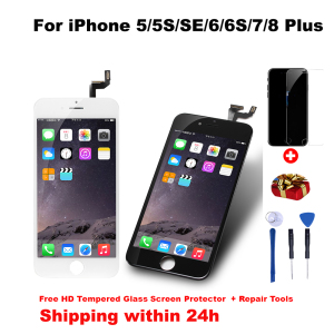 Grade AAA+++ LCD Display For iPhone 5 5S 6 6S 6Plus 7 8 6S Plus Touch Screen For Replacement No Dead Pixel Tempered Glass/Tools