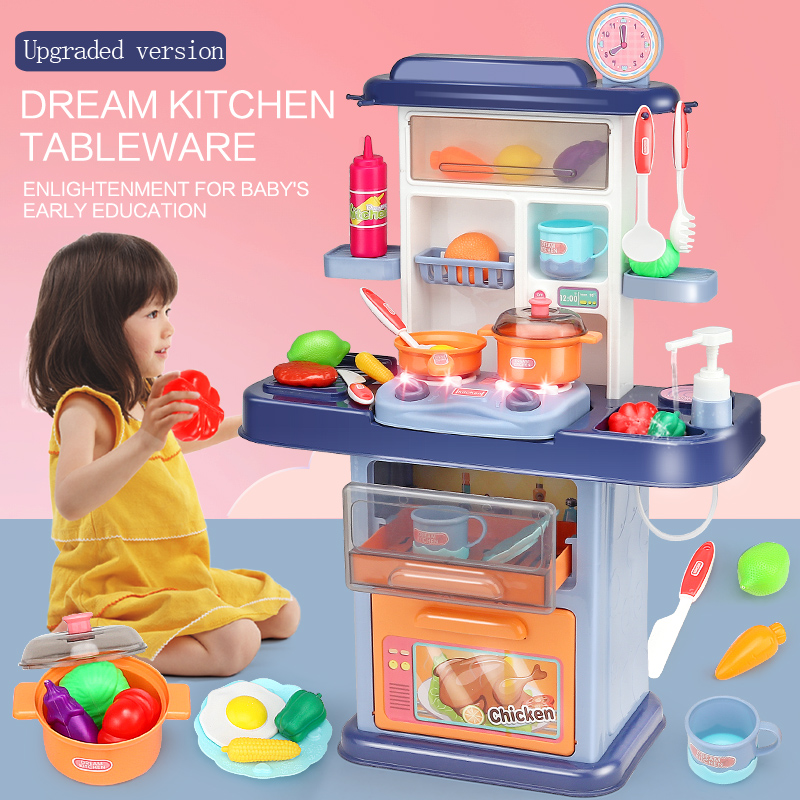 Kids Pretend Play Simulation Kitchen Set Chef Cooking Game Miniature Food Mini Cookware Spray Light Girls Toy Children Gift