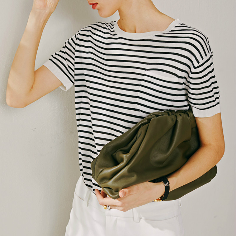 Day Clutch Evening Party Purse Bag Women Large Big Ruched Pillow Hand Bag Leather Cloud Soft Pouch Handbag 2019 Summer