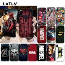 Lvtlv deadpool homem de ferro marvel vingadores logotipo caso de telefone para iphone 11 pro xs max 8 7 6 s plus x 5 5S se xr(China)