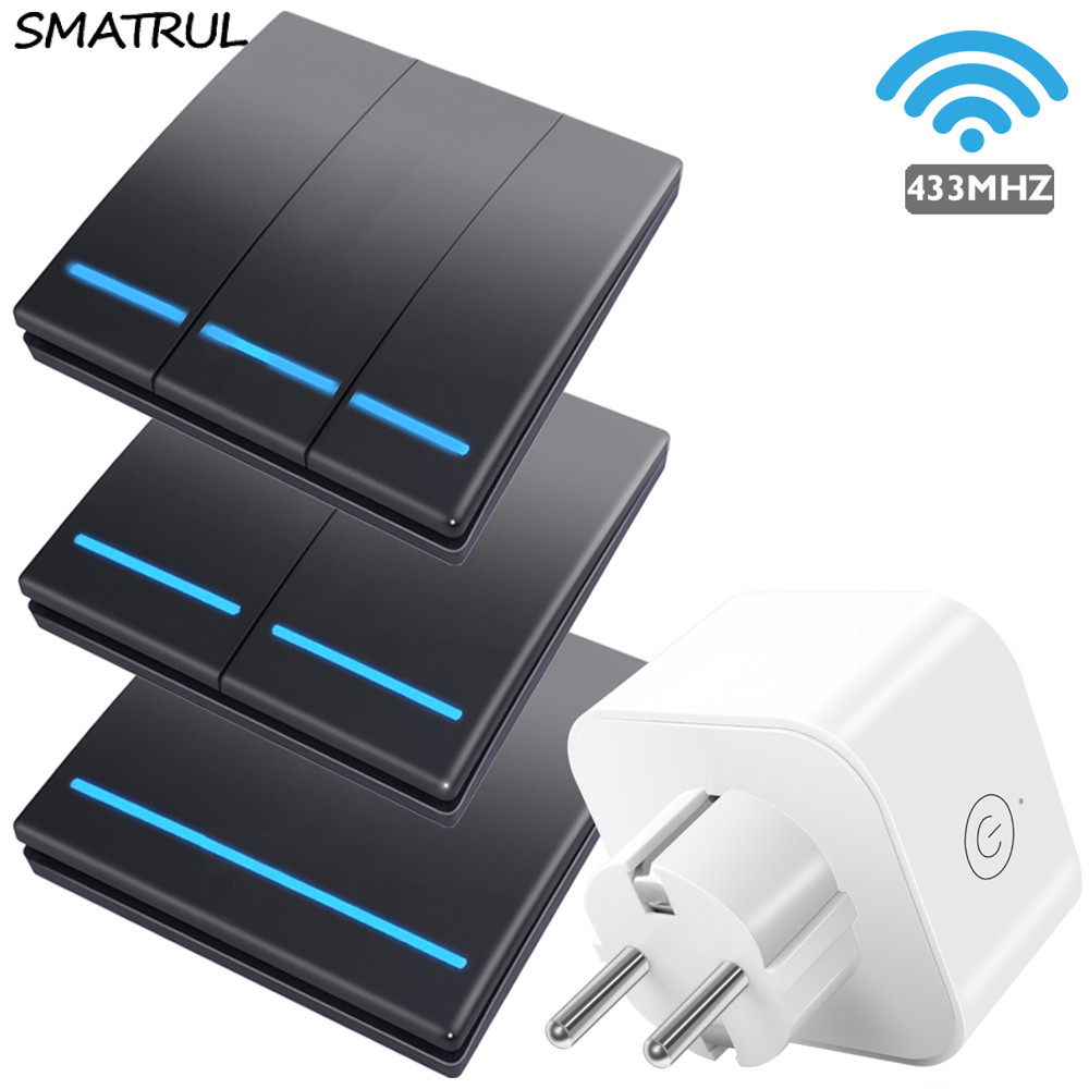 SMATRUL Smart wireless socket power Wall Electrical Outlet Remote Control RF 433Mhz EU plug home push Switch Light  220V 10A