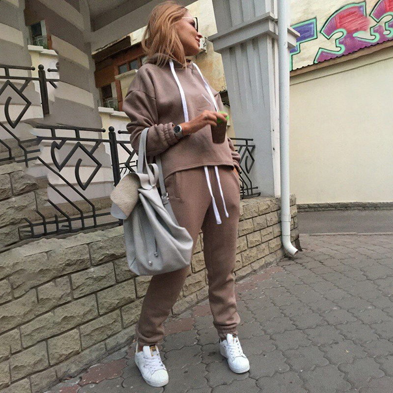 Tracksuit 2Pcs Women Set Hoodies Crop Top Sweatshirt Solid Long Pants And Hooded Tops Women Clothing Suits Female 2 Pieces Sets