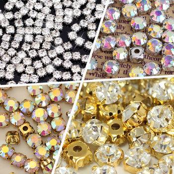 Okrągłe kształty srebrne i złote szyć na cyrkonie z kryształem pazurów стразы szklane brokatowe cyrkonie do sukni ślubnej B1157 tanie i dobre opinie BLINGINBOX Luźne dżetów Naszywane ROUND Szkło flatback Buty Torby Odzieży Sew On Rhinestones With Claw 7 Sizes Optional