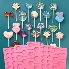 Moules à sucettes rondes en Silicone à fleurs mignonnes, moules à gelée et à bonbons, moule à gâteau de formes variées, décoration de gâteau, ustensiles de cuisson en Silicone