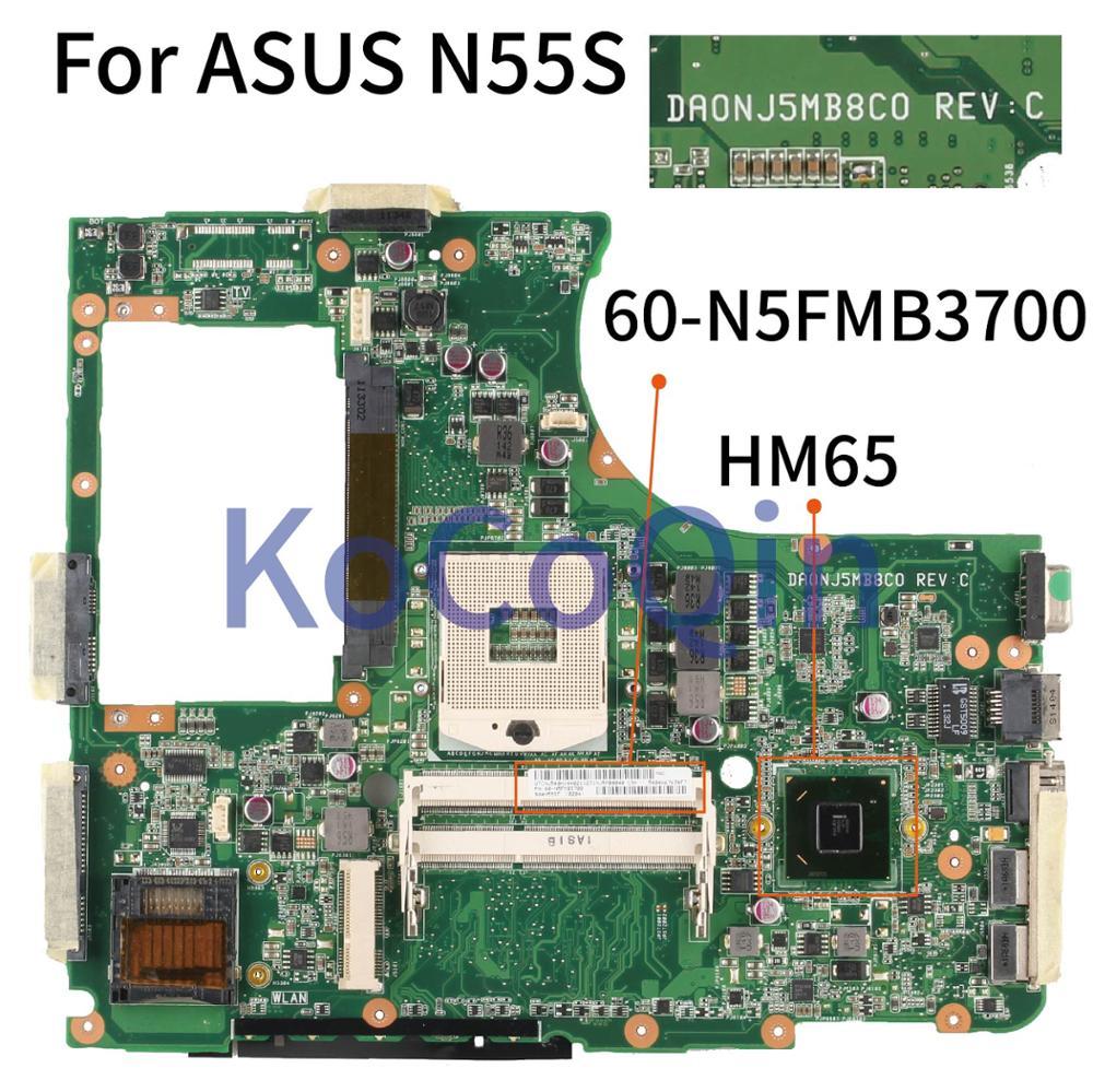 KoCoQin Laptop Motherboard For ASUS N55S Core HM65 Mainboard DA0NJ5MB8C0 60-N5FMB3700