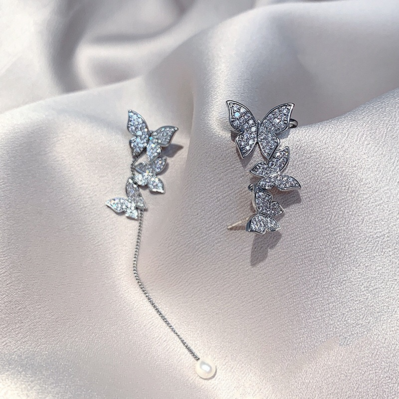 South Korea's new super fairy butterfly earrings long tassel net red sweet earrings Trend Asymmetrical exquisite Ear Bone Clip