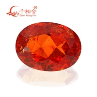 oval shape natura l cut orange color including minor cracks and inclusions corundum synthetic sapphir e loose gem stone
