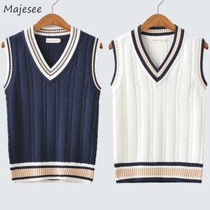 Sweater Vest Men Autumn Winter Plus Velvet V-neck Striped Big Size 5XL Oversize Mens Couples Preppy Style Students Vests Ulzzang