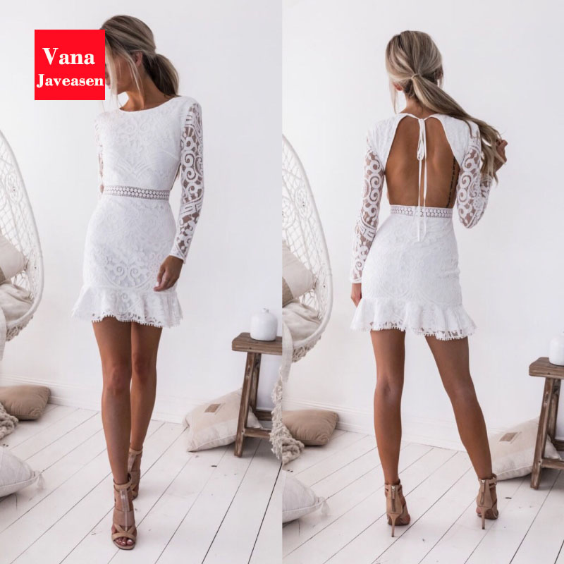 Vana Javeasen <font><b>Sexy</b></font> Club Evening Party Women <font><b>Dress</b></font> <font><b>Lace</b></font> <font><b>Backless</b></font> Slim Female White <font><b>Dresses</b></font> <font><b>Hollow</b></font> Out Long Sleeve Womens <font><b>Dress</b></font> image