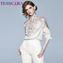 TESSCARA Women wiosna i jesień elegancki nadruk w stylu Vintage bluzka damska designerski Top Office Party bluzka damska bluzki bluzki
