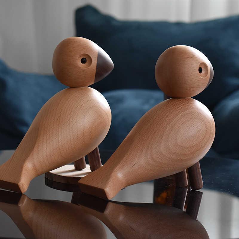 Fatti a mano In Legno Danimarca Figurine Animali Lark Uccello Camera Dei Bambini Camera Da Letto Soggiorno Decorazione Della Casa Accessori Ornamenti Regalo Giocattoli