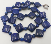 Natural 6mm-14mm Blue Lapis Lazuli Gemstone Beads Necklace 18'' AAA(China)