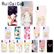 Ruicaica Pink Japanese Anime Kawaii Sailor Moon Phone Case Cover for iPhone X XS MAX  6 6s 7 7plus 8 8Plus 5 5S SE XR 10 ruicaica marvel avengers widow hulk iron man spider man film phone case for iphone x xs max 6 6s 7 7plus 8 8plus 5 5s se xr 10
