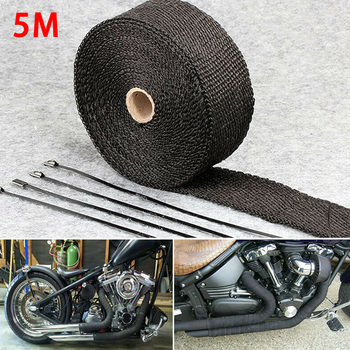 5M Roll Fiberglass Heat Shield Motorcycle Exhaust Header Pipe Wrap Tape Thermal Protection+ 4 Ties Kit
