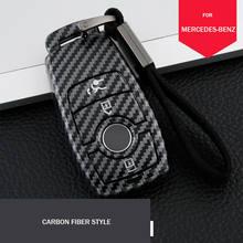 Fibra de carbono caso chave do carro capa para mercedes benz e s classe w213 17-20 acessórios chaveiro