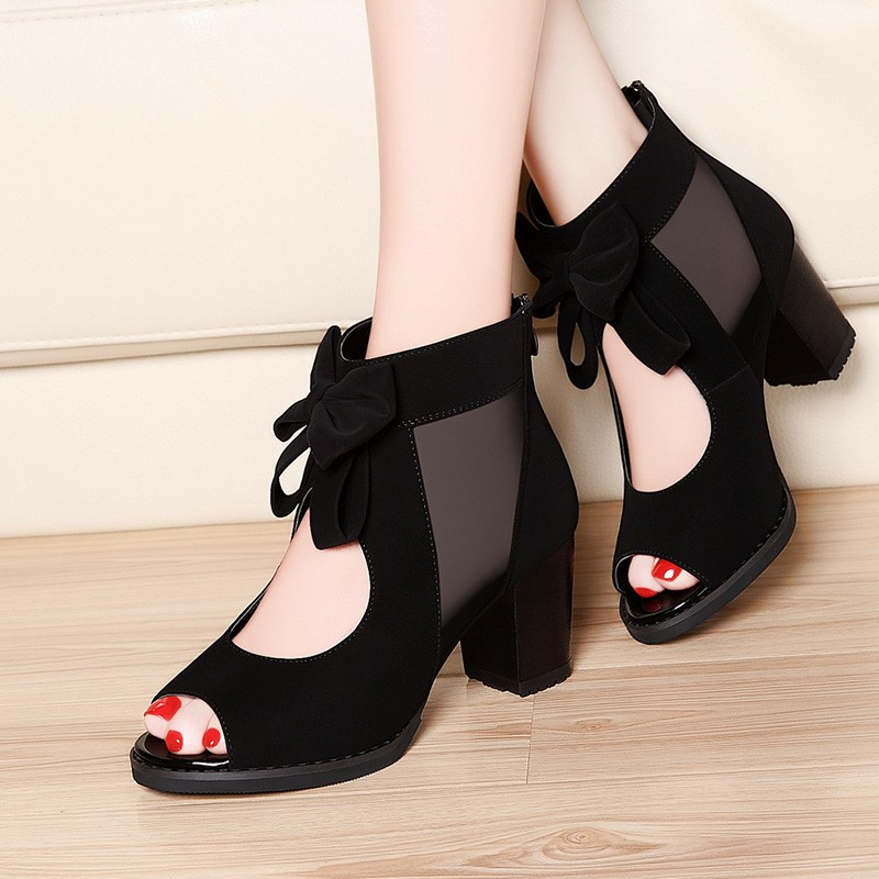 2020 New Women's Shoes Peep Toe Woman MID Heels Female Sexy Platform Sandals Front Hollow Out Thick Heel Bowtie Black Blue