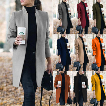 Autumn And Winter Women's New Woolen Long Coat Ladies Casual Fashion Stand-up Collar Pocket Warm Elegant Business Jacket Women