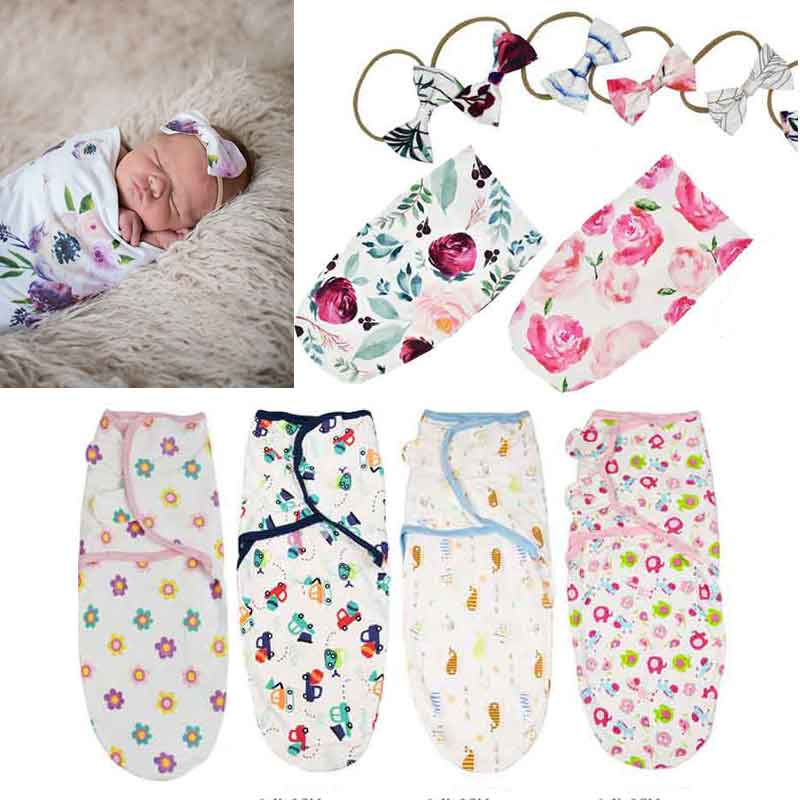 2pcs Soft Cotton Infant Swaddle Muslin Blanket Newborn Baby Wrap Swaddling Blanket Sleeping Bag+Headband Outfits Set