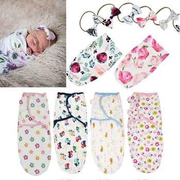 Soft Cotton Infant Swaddle Muslin Blanket Newborn Baby Wrap Swaddling Sleeping Bag+Headband Outfits Set - discount item  15% OFF Bedding