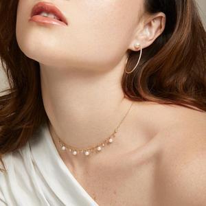 Image 1 - 100% reine 925 Silber Halsketten Anhänger für Frauen Runde Süßwasser Perlen Halskette Feine Büro Schmuck Einfache Design Bijoux