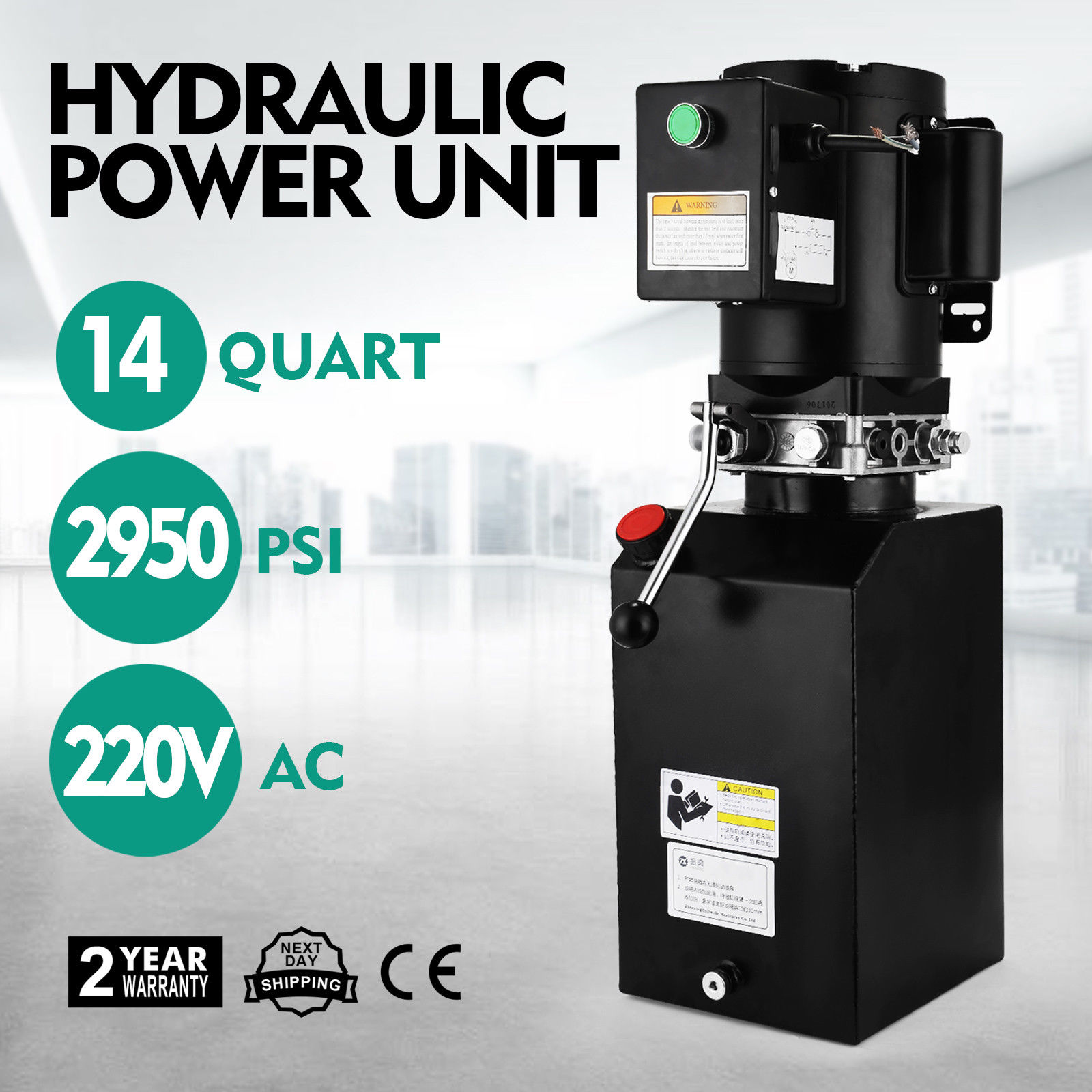 14L Car Lift Hydraulic Power Unit Pack (220V) 60hz 1 ph 2950 PSI Auto Repair|Heat Pump Water Heater Parts| |  - title=