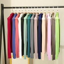 Cotton T-Shirt Long-Sleeve Autmn Office Lady 100%Modal Tops Winter Fashion Women Elastic