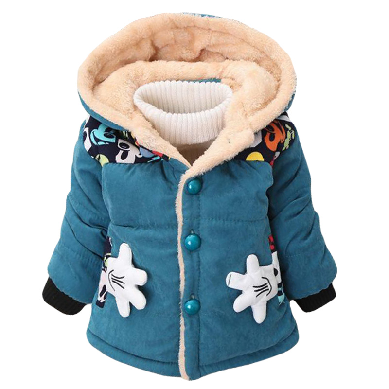 2019 New Autumn Winter Infants Warm Hooded Mickey Baby Girls Jacket Cotton Boys Coats Kids Clothes Blue Yellow Red 1-2-3-4 Years
