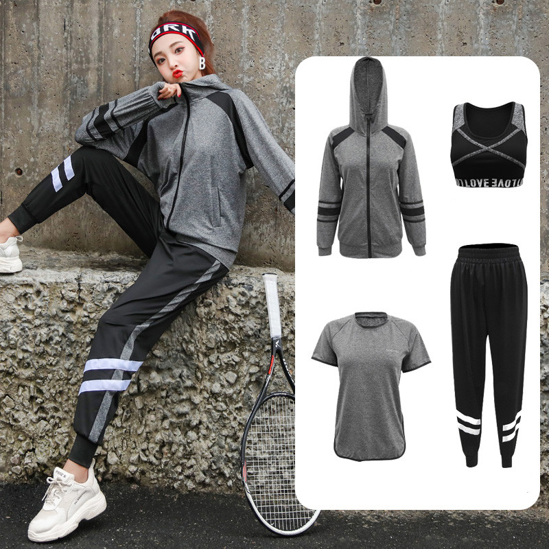 Sportswear Women Yoga Sets High Waist Yoga Clothes Fitness Gym Sets 5 Pieces Running Coats Yoga Pants Sports Bra Workout Set XXL image