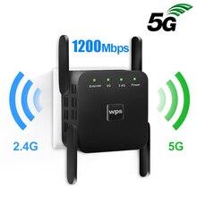 Repetidor de wi fi 5g, extensor de wi fi amplificador de sinal 1200mbps wi fi ultraboost 2.4g sem fio longo reforço de alcance wi fi