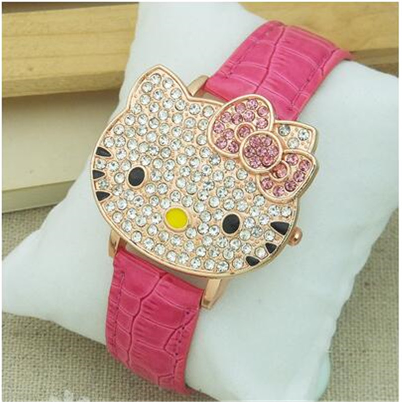 Flip Cartoon Ktcat Children's Watch Hot Sales Cute Leather Watch Children Girls Women Crystal Dress Quartz Wristwatch