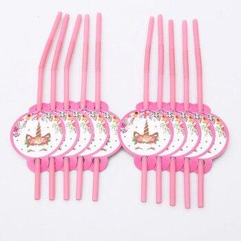 Decoraciones de fiesta de cumpleaños unicornio juegos de vajilla desechables de caballos de dibujos animados 1 er vasos de papel para cumpleaños/sombrero/servilletas favores