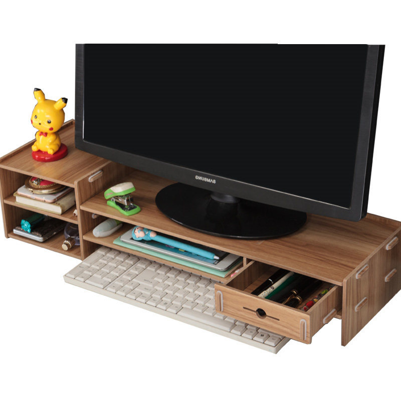 Home High Quality Creative LCD Computer Monitor Increase Shelf Office Desktop Drawer Multifunctional Storage Rack Small Table