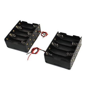 250pcs/lot Black Plastic 10 AA 2A Batteries 15V Clip Holder Box Case Storage With Wire Leads Battery Storage Organizer
