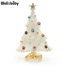 Wuli & baby-broches del árbol de Navidad para hombre y mujer, broche de árbol brillante con diamantes de imitación, alfileres, regalos de año 2021