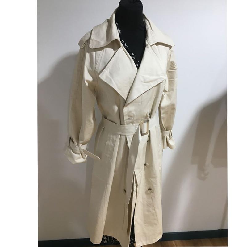 2019 Fall Trench Coat for women Doble Breasted Long Coat korean style women Windbreaker Lapel Coat