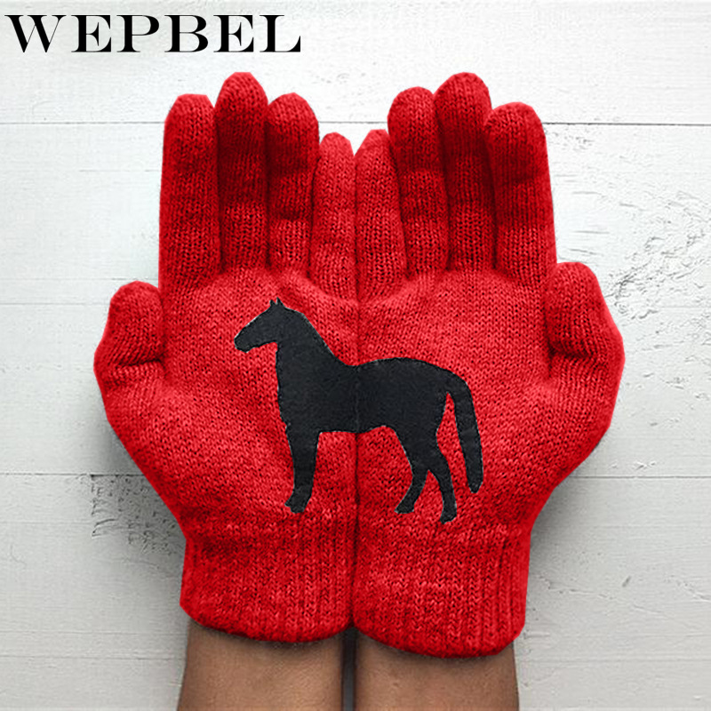 WEPBEL Autumn And Winter Warm Thick Black Horse Printing Gloves Winter Touch Screen Female Gloves For Women Christmas
