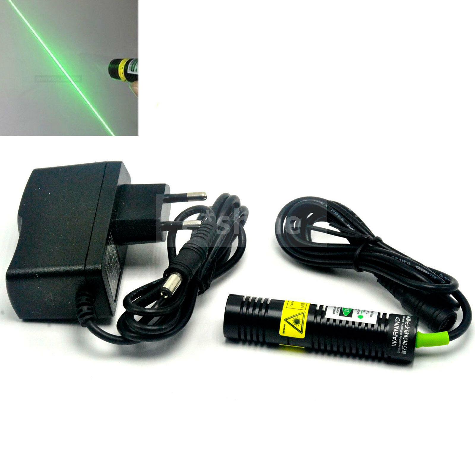 532nm 10mW Green Laser Line Module Long Time Working With 5V Power Adapter US/EU/AU/UK