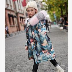 معاطف شتوية على الموضة للأطفال معطف سميك دافئ مقاوم للرياح ملابس خارجية مطبوعة ياقة من الفرو الحقيقي سترة للصغار Y2366