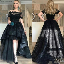 Black Full Lace High Low Prom Dress Off Shoulder Short Sleeves Evening Gowns Party Gown High Quality Fashion Custom Made Train