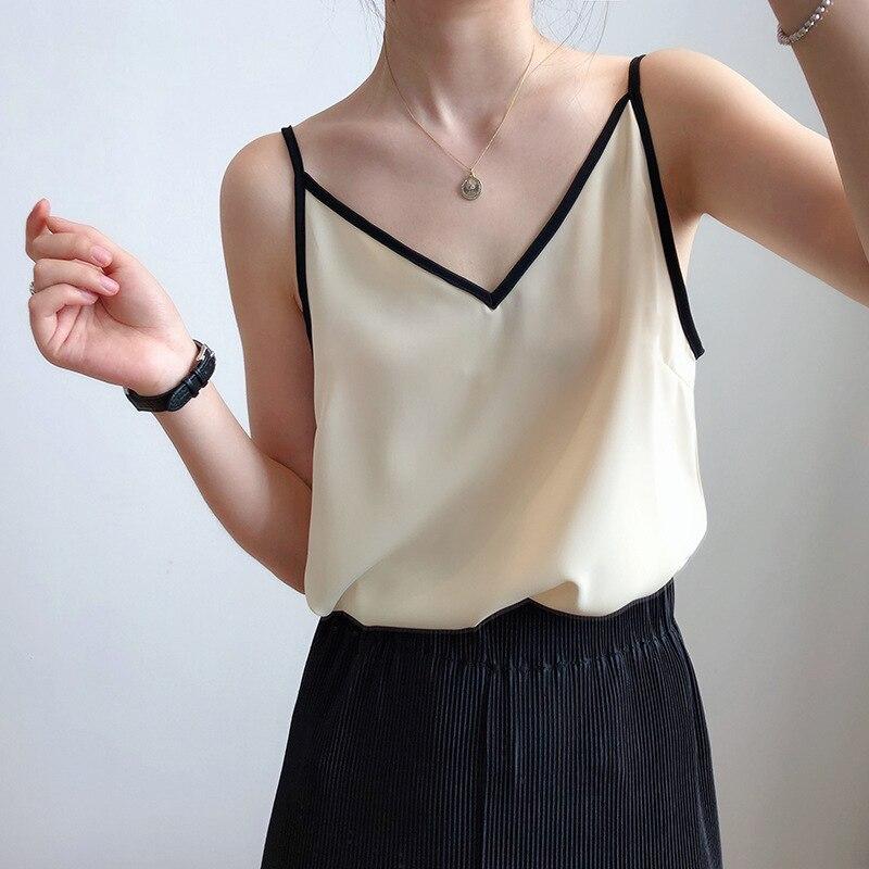 2020 New Boho Women Satin Silk Tank Tops Sexy Spaghetti Strap Top Female Women Summer Camisole Tops Camis