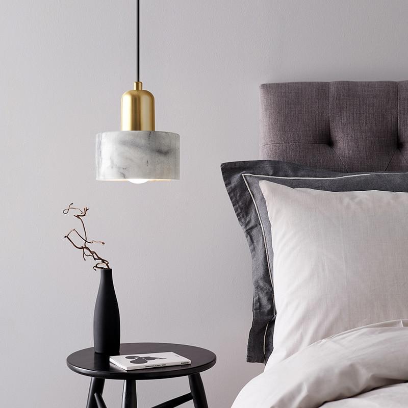 New Nordic Bedroom Beside Pendent Lights Round Marble Simple Modern Luxury Pendent Lamp Restaurant Bar Living Room Pendent Light