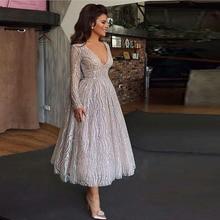Мода Аппликация с блестками вечернее торжественное платье Винтаж лодыжки длина выпускного вечера серебряные складки платья для вечеринок Robe De Soiree